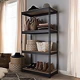 Baxton Studio Cody negro Metal 4-Shelf multiusos estantería accesorio de