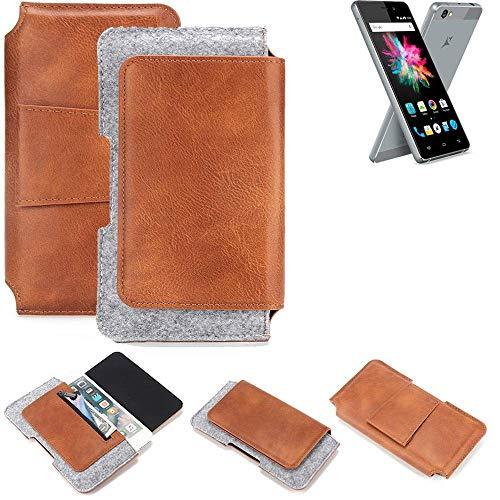 K-S-Trade® Schutz Hülle Für Allview X3 Soul Mini Gürteltasche Gürtel Tasche Schutzhülle Handy Smartphone Tasche Handyhülle PU + Filz, Braun (1x)