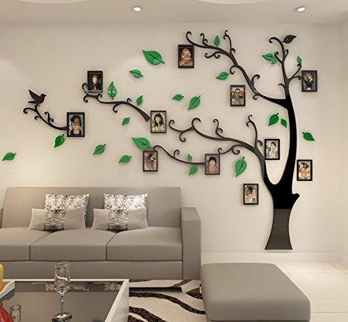 Wandtattoo Baum 3D DIY Wandaufkleber Sticker mit Bilderrahmen Foto Baum Wandsticker Wanddeko Deko für Hause Kinderzimmer Wohnzimmer Schlafzimmer(M: 150 * 210CM,GRUN Links)