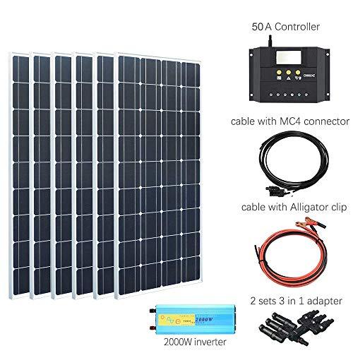 YUANFENGPOWER 600 watt 12 v Solarpanel Kit 6 stücke 100 watt Monokristalline Hohe Effizienz Solarmodul für Boot Mobilheim Caravan 12 V Ladegerät