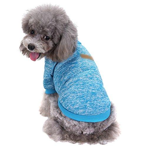 YiJee Haustier Hund Kleidung Kleine Hundchen Klassische Warme Pullover Blau S