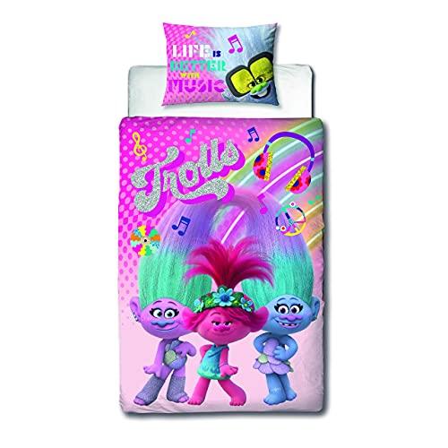 Trolls World Tour - Funda de edredón para Cama Individual, diseño de Arco Iris | Producto Oficial...