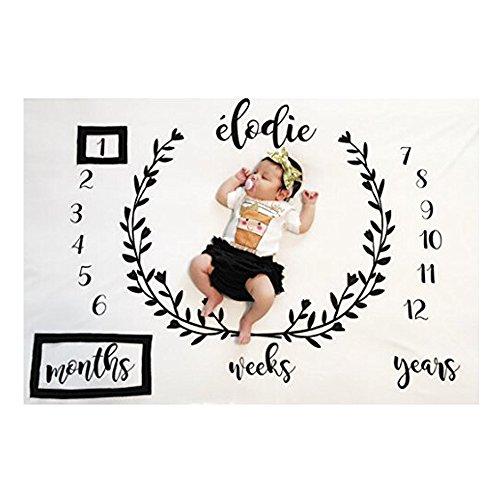 Amorar Imballaggio di fotografia neonato,coperte di prop di fotografia di fotografia fai-da-te,bambino prop stampa cotone pacchetto milestone mensile Sw Coperta in bianco,pacchetto di onda lunga,#3
