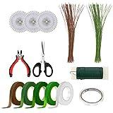Kit de arreglos florales, Brynnl 14 piezas de herramientas florales que incluyen cortador de alambre floral tijera de calibre 26 cables de tallo