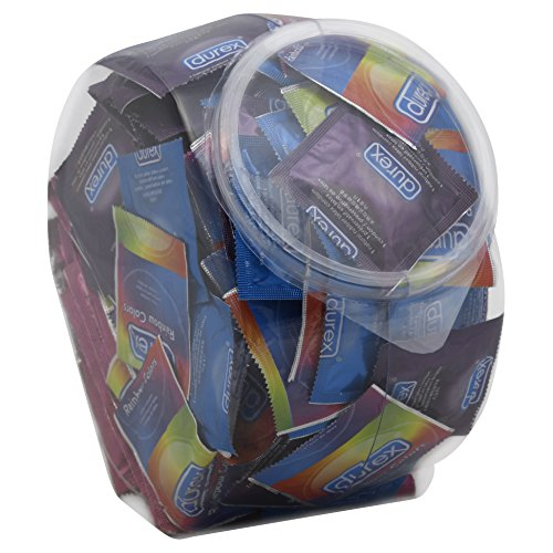 Durex Condom Fish Bowl Natural Latex Bulk Condoms, 144 Count - An assortment of Ultra Fine & Lubricated
