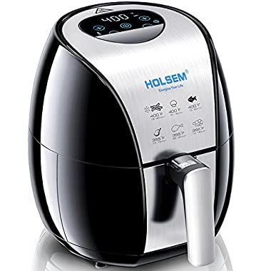 HOLSEM Air Fryer with Rapid Air Circulation System, 3.4 QT Capacity, Temperature up to 400°F, Low Fat Healthy Air Fryer, Black/Stainless Steel, 1500W (LED Display)