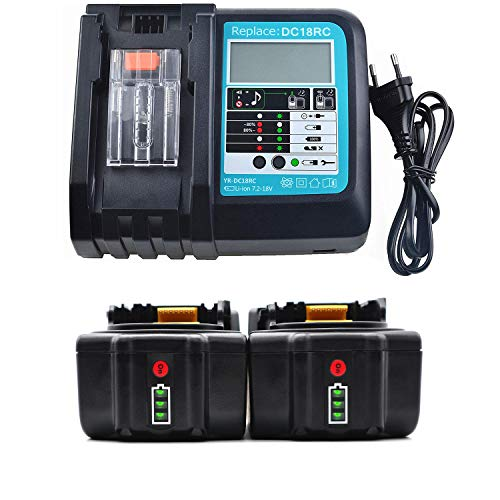 HUARUI 2 baterías con cargador, 18 V 5 Ah BL1850B batería de ion de litio de repuesto, cargador DC18RC para herramientas inalámbricas Makita