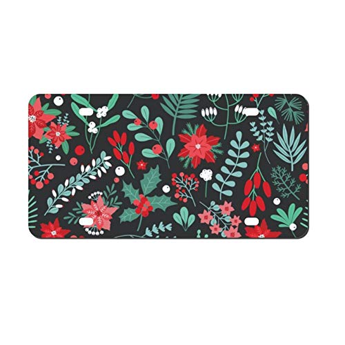 'N/A' License Plate Cover Holly Leaves, Berries and Green and Red Plants and Flowers Aluminum Auto Tag Plate Sign for Car Truck Tag Sign 6 x 12