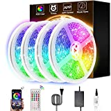 PATIOPTION LED Lights, RGB LED Lights Strip 65.6ft/20M SMD 5050 12V Adhesive DIY Color Changing Tape Lights 44 Keys Remote+Bluetooth Controller Sync to Music Apply for TV, Bedroom and Home Decoration