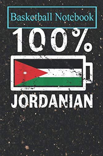 Basketball Planner: Jordan Flag 100% Jordanian Battery Power Tee T-Shirt Basketball College Ruled Lined Pages Book