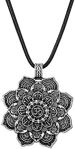 BEISUOSIBYW Co.,Ltd Collar Regalos Moda Retro Collar Tibet Collar Espiritual Flor de la Vida Mandala Colgante Collar Mujeres Hombres Geometría Amuleto Yoga Gargantilla Joyería Religiosa