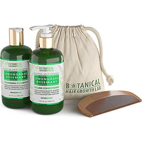 BOTANICAL HAIR GROWTH LAB - Shampoo and Conditioner Gift Set - Lemongrass Rosemary - Essential Hair Recovery - Scalp Soothing / Refereshing - For Hair Loss Prevention Alopecia Postpartum DHT Blocker