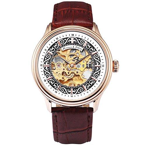 KS Armbanduhren für Herren männer Edelstahl Automatische Mechanische Skelett Analog Lederband Uhr Braun KS385