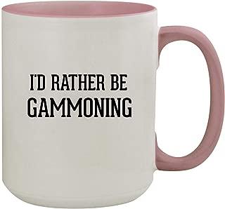 I'd Rather Be GAMMONING - 15oz Colored Inner & Handle Ceramic Coffee Mug, Pink