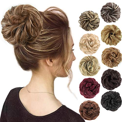 MORICA 1PCS Messy Hair Bun Hair Scrunchies Extension Curly Wavy Messy Synthetic Chignon for women Updo Hairpiece (Light Golden Brown & Pale Golden Blonde)