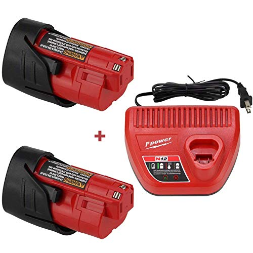 2 Pack 12V 3.0Ah Compatible with Milwaukee M12 Battery XC Lithium 48-11-2411 48-11-2420 48-11-2401 48-11-2402 48-11-2401 and 12V Lithium Battery Charger for Milwaukee M12 Battery