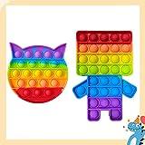 Hoqque Fidget Toy Set Spielzeug 2 Pcs Push Bubble Sensory Antistress Pack Spiel Regenbogen Stressabbau Anti Stress Rainbow Bunt für Erwachsene Kinder ADHD Geschenk Roboter Katze
