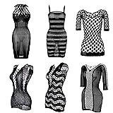 FEPITO 6 Set Vestidos de Rejilla Malla Lencería Hollow Fishnet Ropa de Dormir para Mujeres
