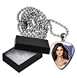 Selena Gomez Flag Metal Guitar Pick Necklace Ball Chain Collier Médiator