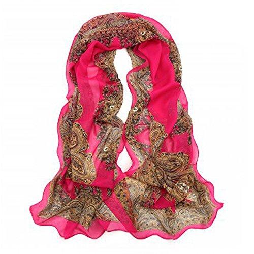 Bluelans Mode Femme doux Écharpe de soie longues écharpes en mousseline de soie fleur Châle écharpes Wraps rose rouge taille unique