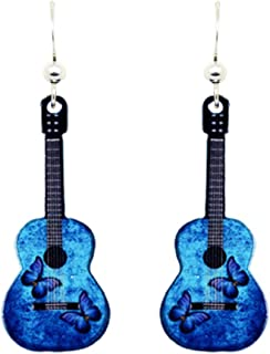 Blue Butterfly Guitar Earrings by d'ears Non-Tarnish Sterling Silver French Hook Ear Wire