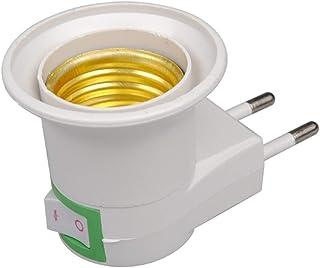Adaptador de enchufe macho de la lámpara de la lámpara de luz LED E27 del zócalo del convertidor de enchufe de la UE Tipo de adaptador convertidor de bombilla titular con el botón ON / OFF