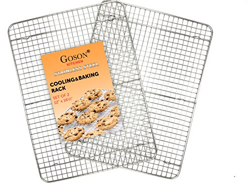 Goson Kitchen Stainless Steel Heavy Duty Metal Wire Cooling, Cooking, Baking Rack For Baking Sheet, Oven Safe up to 575F, Dishwasher Safe Rust Free | 12'x16'; SET OF 2