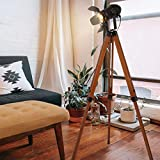 Industrial Floor Lamp for Living Room, Adjustable Height Tripod Floor Lamp for Rustic Decor, Wooden Nautical Retro Spotlight Farmhouse Vintage Standing Lamps for Bedrooms (with no Bulb)