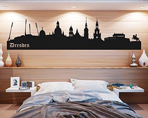 Wandtattoo Skyline Dresden Stadion in verschiedenen Größen und Farben (180 x 44 cm, schwarz)
