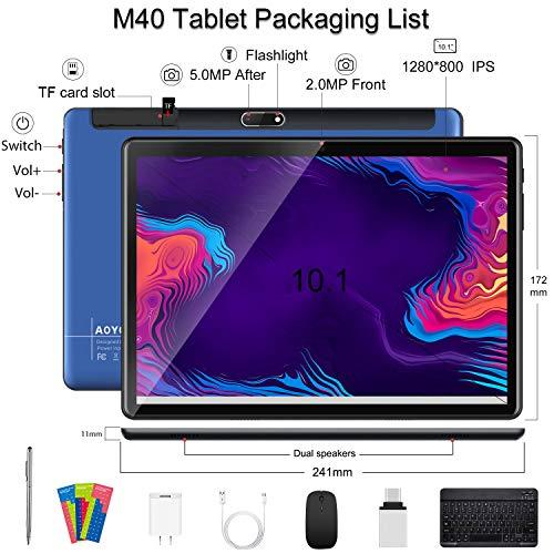 Tablet 10 Pulgadas Baratas y Buenas 5G WiFi Android 10.0 Tableta con Procesador Quad-Core, 800 * 1280 FHD Display, 64 GB Ampliables hasta 128 GB, Teclado/Ratón/OTG/Bluetooth - Azul
