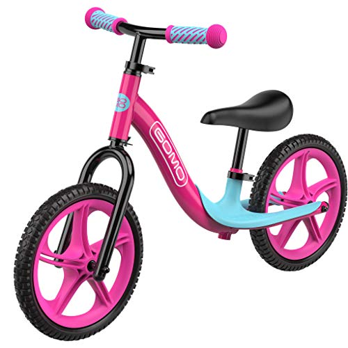 GOMO Balance Bike - Toddler Training Bike for 18 Months, 2, 3, 4 and 5 Year Old Kids - Ultra Cool Colors Push Bikes for Toddlers/No Pedal Scooter Bicycle with Footrest (Pink)