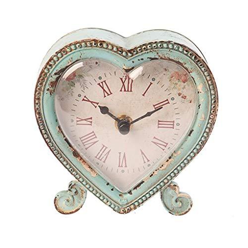 Sass & Belle Boudoir - Orologio in peltro a forma di cuore Uovo di anatra/rosa
