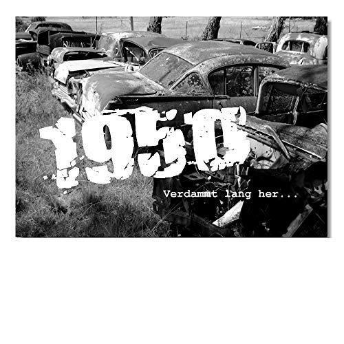 DigitalOase 2 Einladungskarten Jahrgang 1950 70. Geburtstag MIT INNENTEXT 70. Jubiläum Geburtstagskarten 2 Klappkarten 2 Kuverts Format DIN A6#OLDIE