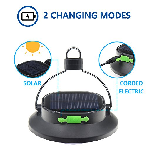 Camping Gear for Hiking Emergencies Hurricane Outages Cell Phone GPS Recharge Outdoor Durable iGopeaks Rechargeable Solar Power Camping Lantern Led Tent Light Lamp Angle Adjustable