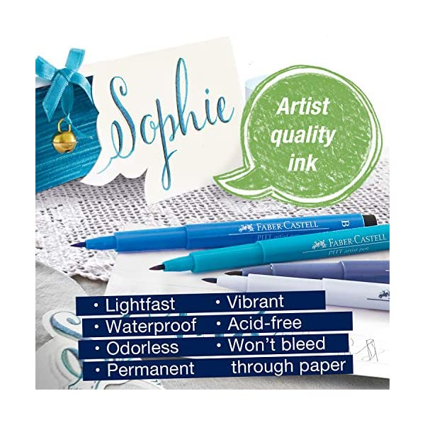 Faber-Castell 267123Tusche lápiz Pitt Artist Pen Lettering, Azul tonos, estuche de 6, Multicolor , color/modelo surtido