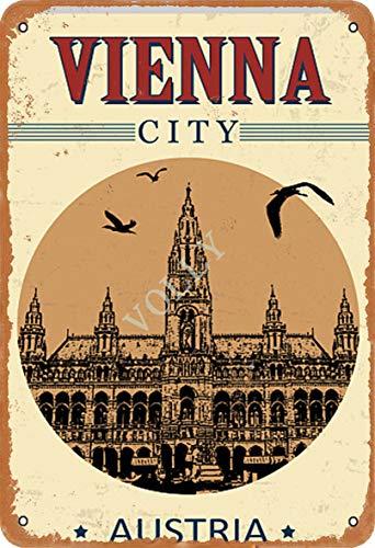 Volly Vienna City Austria Retro - Letrero de Metal para decoración de Pared, diseño Retro con Texto en inglés Prevenir Brillos, Ideal para Cocina, salón, Bar, cafetería, decoración