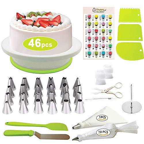 Modrad 46 Pcs Kit de Pâtisserie Plateau Tournant de Gâteau Kit de Décoration de Gâteaux Tournant Poches Douilles Spatule à Glaçage pour Cuisine Décoration de Gâteaux