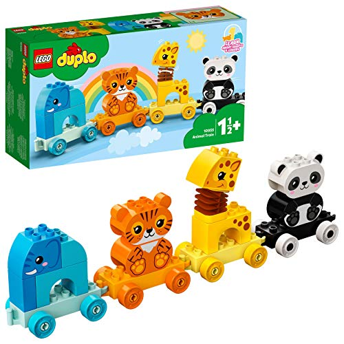 LEGO Duplo 10955 Le Train des Animaux incluant Un éléphant, Un Tigre, Un Panda et Une Girafe pour Les bébés,1 an et Demi