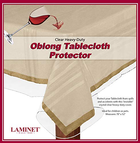LAMINET Heavy-Duty Deluxe Crystal Clear Vinyl Tablecloth Protector 52' x 70' - Oblong