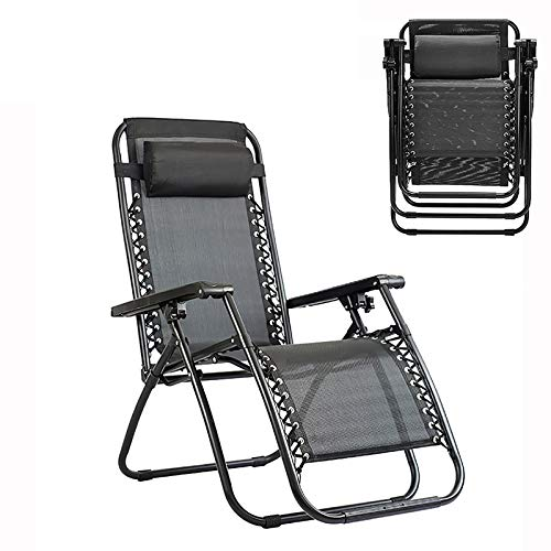 MJHETCY Adjustable Folding Recliner Outdoor Yard Beach, 300 lbs Weight Capacity Patio Lounge Chair Pool Side Using Lawn Lounge Chair with Pillow (Color : Black)