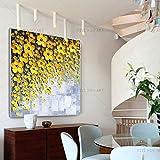 Bastante Moderno Floral De La Pared Pintura Nuevo Pintado A Mano Amarillo Gris Blanco Cuadro De La Pared En La Lona, sala De Estar, Decoración, Regalo Pintura al óleo ( Color : 02 , Size : 50X50cm )