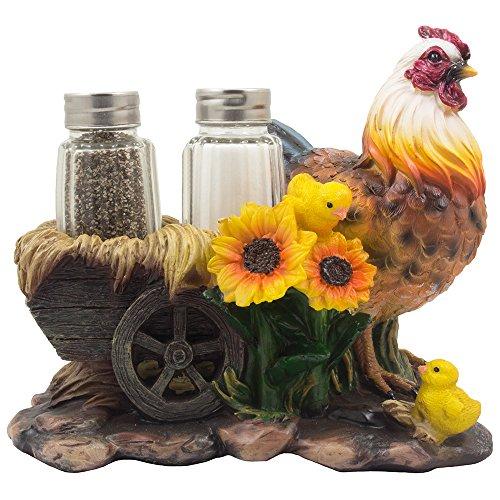 Home n-Gifts Salière et poivrière en verre avec motifs de tournesols décoratifs et de wagon de foin à l'ancienne, pour décoration de cuisine rustique, figurines ou présentoirs avec animaux de la ferme, coq ou poules comme cadeaux pour les agriculteurs
