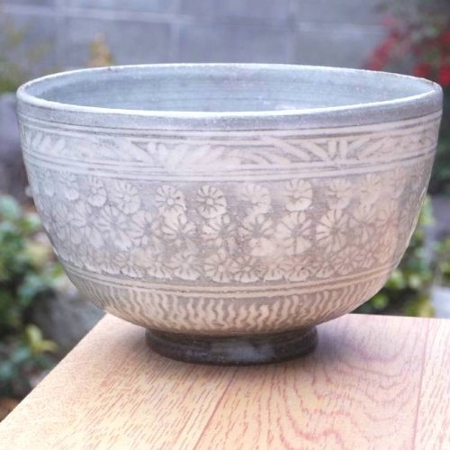 Best Deals! Kyo Kiyomizu Mishima Hand Tea Bowl Kagetsu