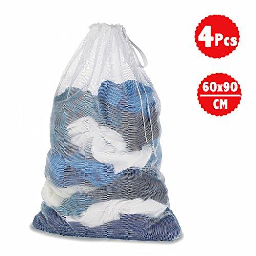 DoGeek Bolsas de Malla de Lavandería Bolsas de Lavado para Ropa Interior, Calcetines,Sujetadores, Camiseta,Ropa de Bebé (Blanco, 4 pcs)