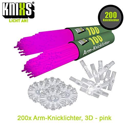 KNIXS 200x Arm-Knicklichter Party-Pink (Rosa) leuchtend inkl. 200 x 3D-Verbinder und je 4 x Ballverbinder und 7-Lochverbinder für Party, Festival, Geburtstag oder als Dekoration, geprüfte Markenqualität