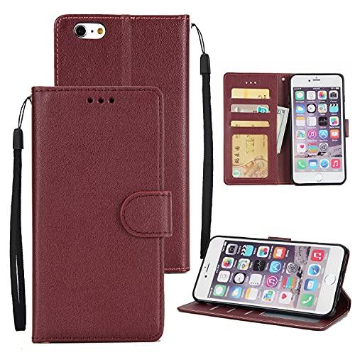 SZCINSEN Funda tipo cartera para iPhone 6G 6S, piel sintética de primera calidad, con correa para la muñeca, con bolsillos para tarjetas de crédito y identificación (color rojo vino)