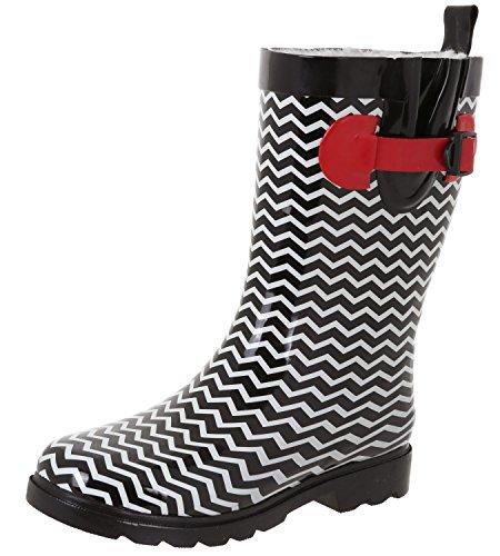 Capelli New York Ladies Shiny Big Chevron Printed Rain Boot Black Combo 10