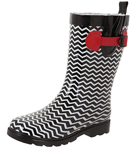 Capelli New York Ladies Shiny Chevron Printed Mid-Calf Rain Boot Black Combo 10