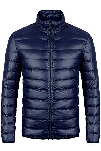 CIOR Men's Ultra-Lightweight Packable Down Jacket Coat With Travel Bag,MLLJD,03Navy,L