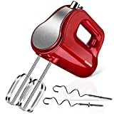 REDMOND Hand Mixer, 5-Speed Electric Hand Mixer with Turbo, Easy Eject Button, 250W Handheld Kitchen Mixer with 4 Stainless Steel Attachments(Beaters and Dough Hooks), RED
